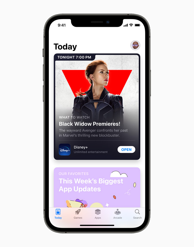 Redesigned App Store, displayed on iPhone 12 Pro.