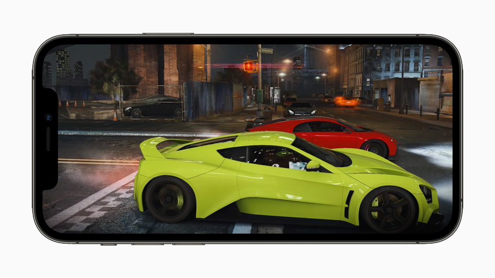 Improved gaming performance showcased on an iPhone 12 Pro.