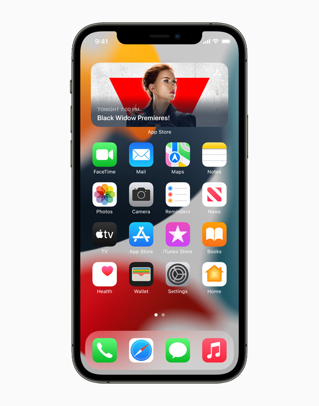 Redesigned widgets on the Home Screen in iOS 15, displayed on iPhone 12 Pro.