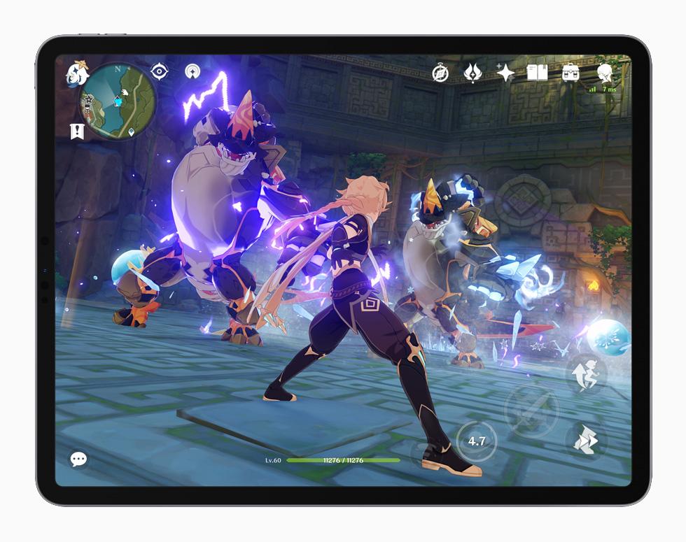 """Genshin Impact"" gameplay displayed on iPad Pro."