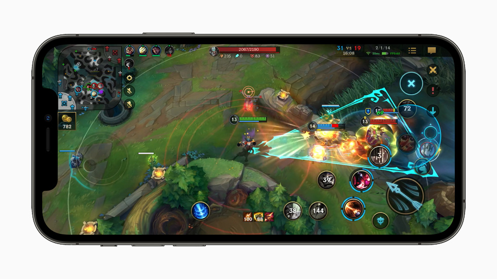 """""""League of Legends: Wild Rift"""" gameplay displayed on iPhone 12 Pro."""