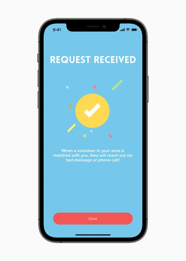 Die Feed Fleet-App bestätigt den Empfang einer Anfrage.