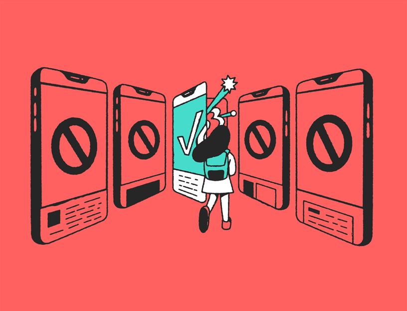 Illustration of girl looking into a phone with a check mark surrounded by phones with a no symbol.