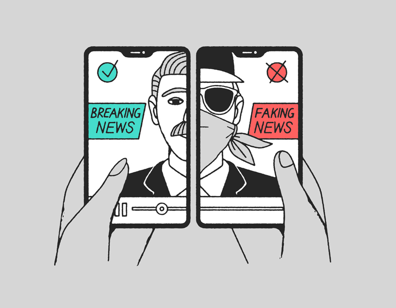"Illustration of two phones showing ""breaking news"" and ""faking news."""