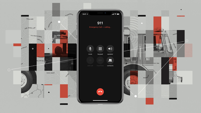 iPhone X showing an emergency 911 call on screen.