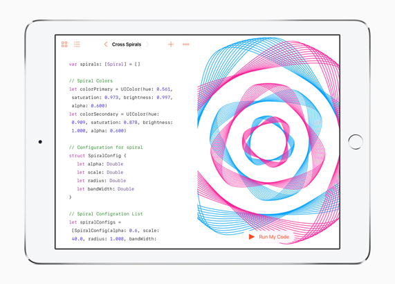 iPad Pro displaying Swift coding example.