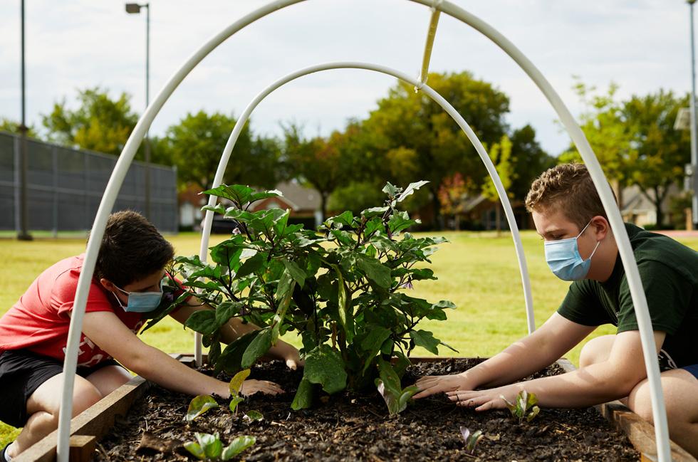 Annabeth Hook y Stayton Slaughter cuidan las plantas del jardín comunitario del centro Coppell Middle School East.