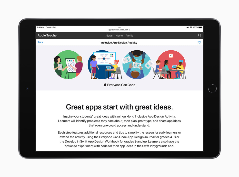 The table of contents in the teacher guide for Everyone Can Code Early Learners is shown on iPad.