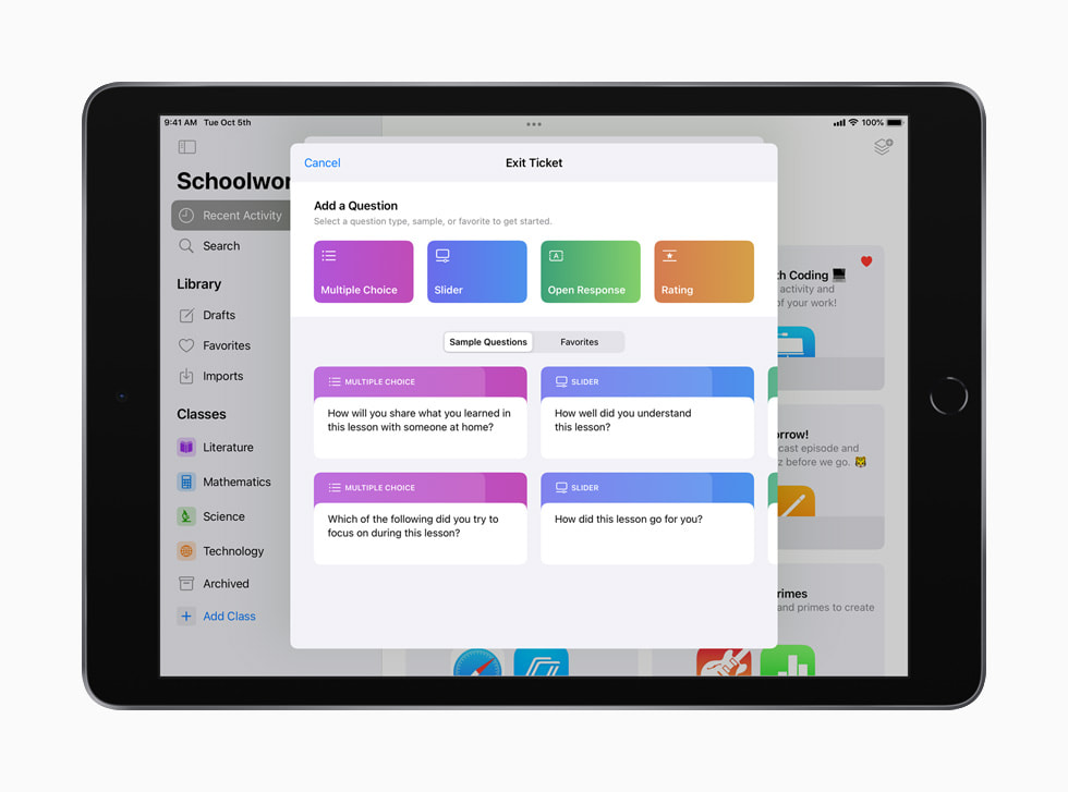 An exit ticket template is shown in the Classwork app on iPad.