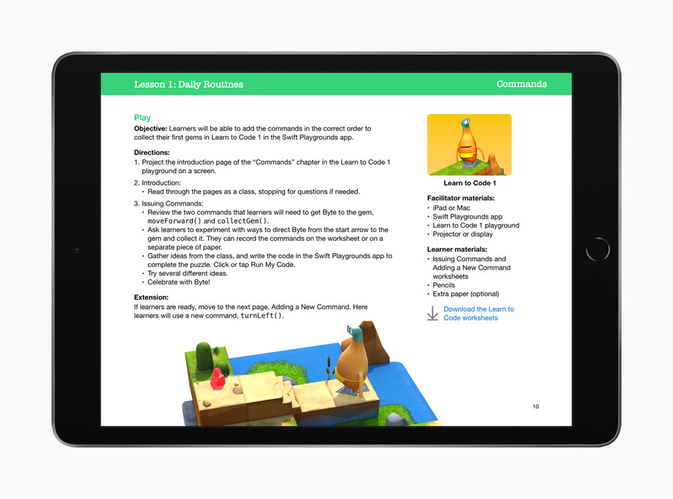 A lesson on writing commands in the Swift Playgrounds app is shown in Everyone Can Code Early Learners on iPad.