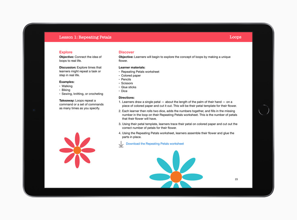 Lesson 1: Repeating Petals is shown in Everyone Can Code Early Learners on iPad.