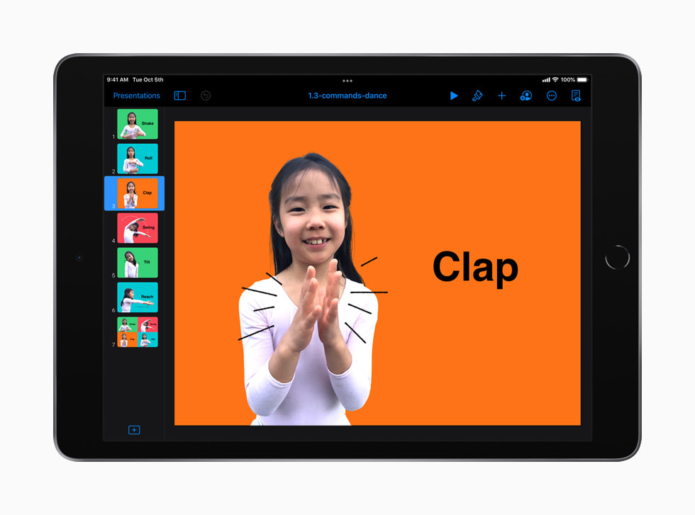 A lesson on coding commands taught through dance moves is shown in Everyone Can Code Early Learners on iPad.