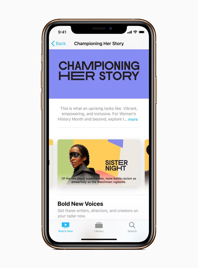 Apple TV App-Sammlung von Serien und Filmen unter der Leitung von Frauen.
