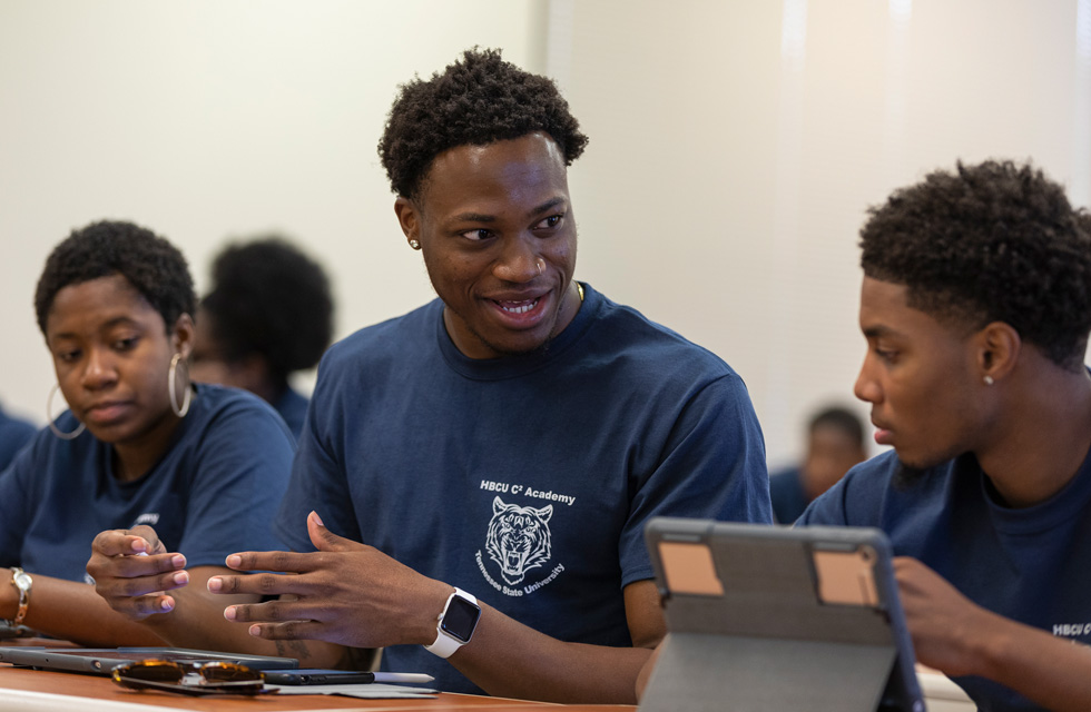 Students from various HBCUs exchange ideas at a coding academy event in Nashville, part of Apple's Community Education Initiative.