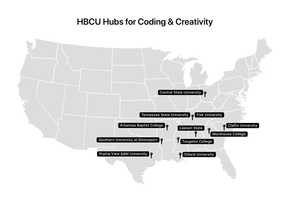 A US map shows the location of each HBCU partner participating in Apple's Community Education Initiative.