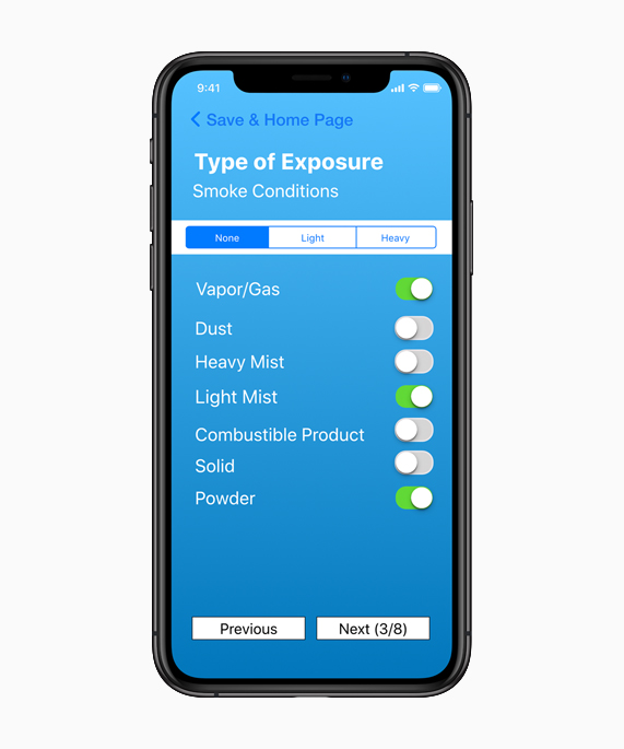 A screenshot of the FireX app interface showcasing smoke conditions on iPhone Xs.