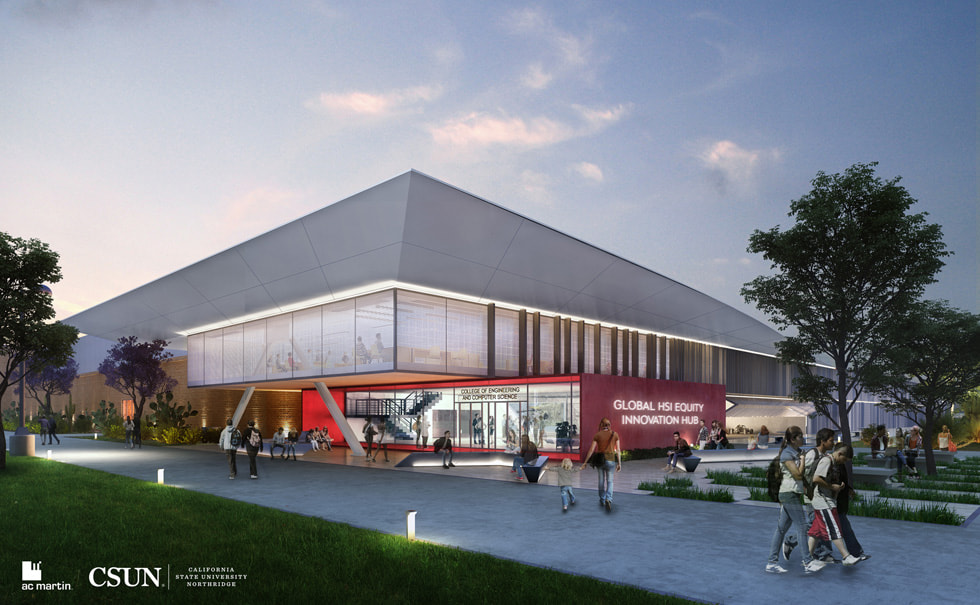 An artist's rendering of a Global Hispanic-Serving Institutions Equity Innovation Hub on the California State University, Northridge, campus.