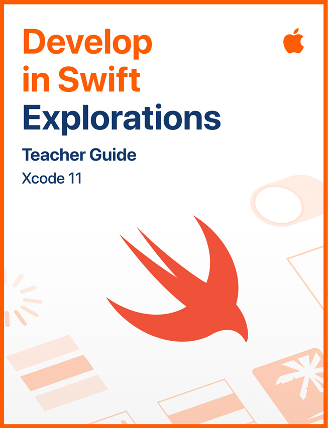 "Imagen de la guía para estudiantes ""Develop in Swift Explorations""."