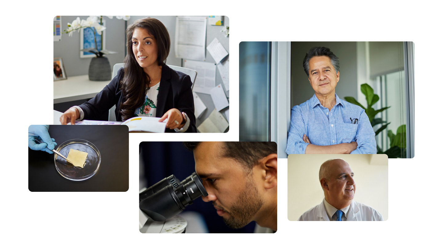 Five-photo collage of those involved with biotech startup SweetBio