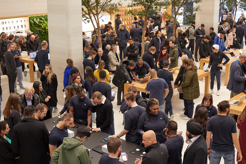 AirPods Pro customers at Apple Regent Street in London.