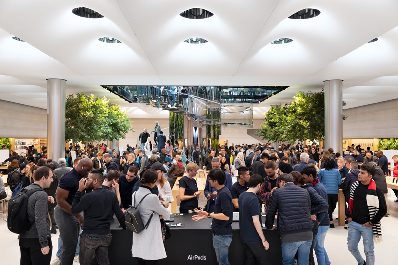 The view inside Apple Fifth Avenue in New York.