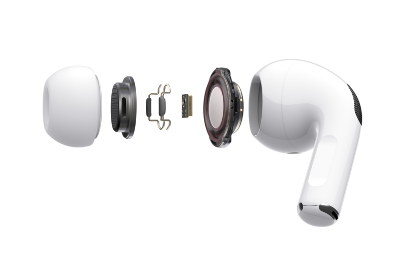 A deconstructed view of the components of AirPods Pro.