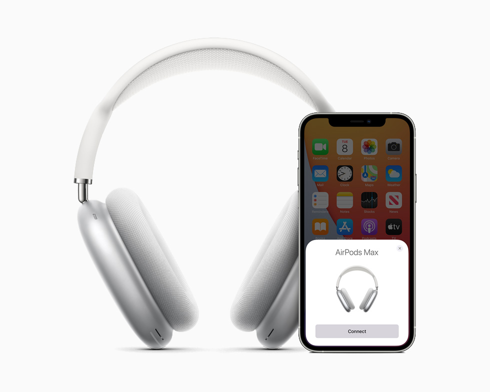 AirPods Max paired up with iPhone 12.