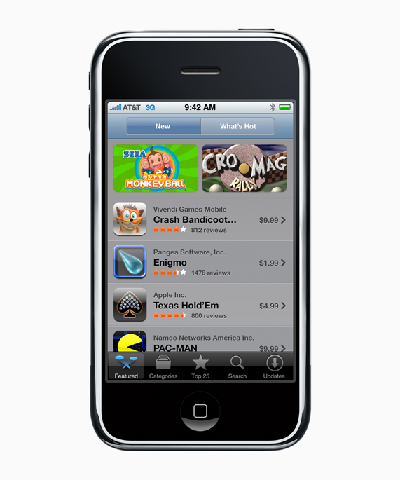 First generation iPhone with the first iOS App Store featured on the screen.