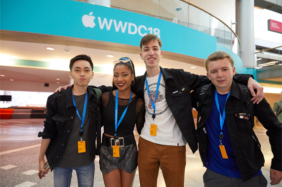 Four student developers at WWDC18.
