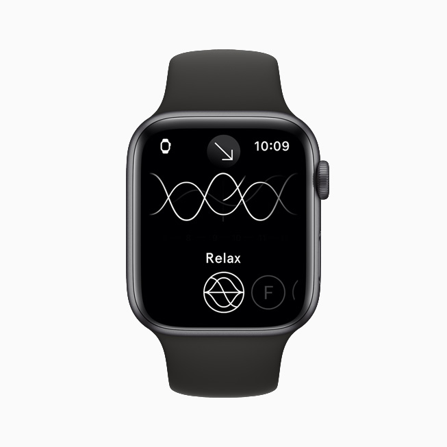 The Endel app in Relax mode, displayed on Apple Watch Series 6.