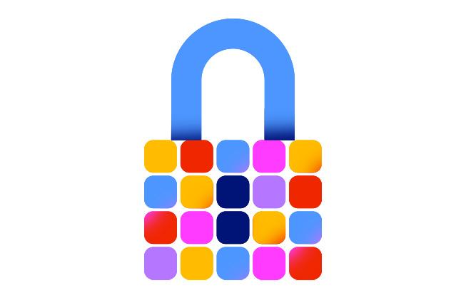 Ett låst hänglås bestående av appsymboler representerar säkerheten på AppStore.