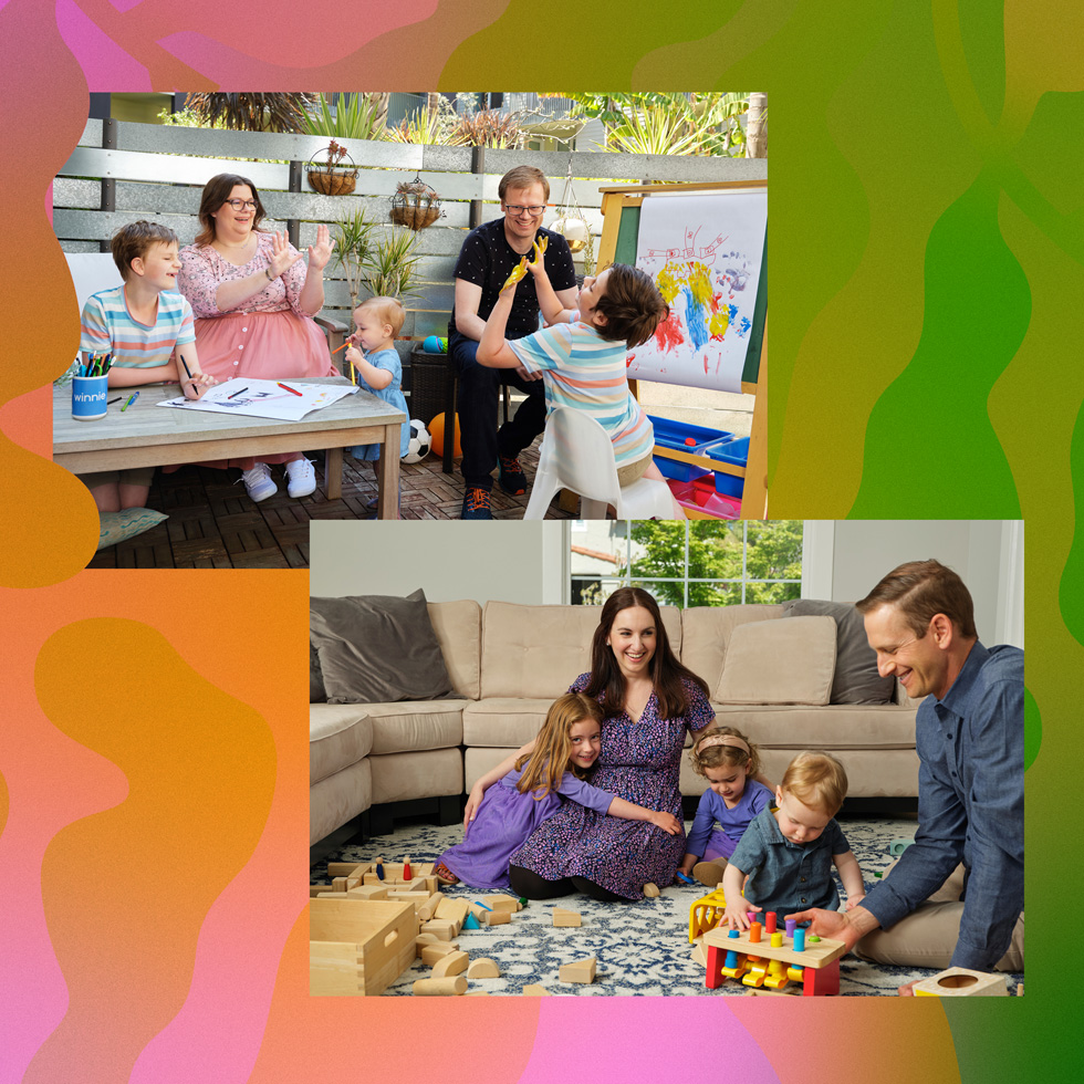 Co-founders of Winnie from left to right: Anne Halsall and Sara Mauskopf at their homes with their families.