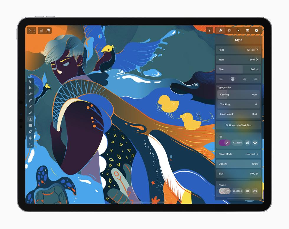 The Vectornator app displayed on an iPad Pro.