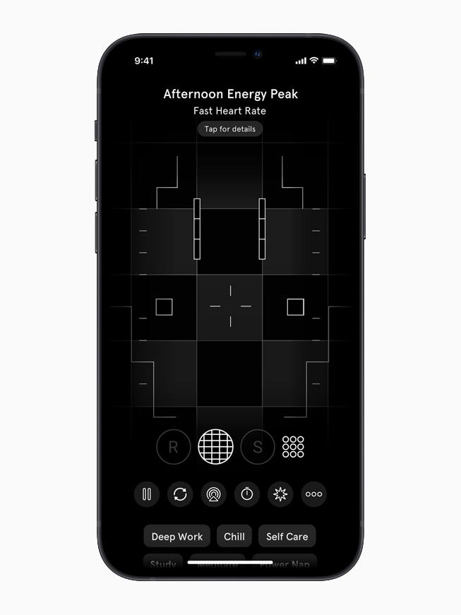 The Endel app displays an Afternoon Energy Peak screen on iPhone 12.