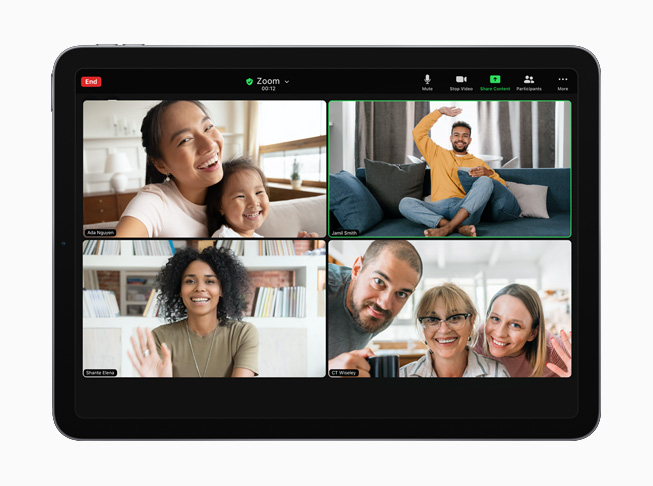 Zoom video conferencing on iPad.