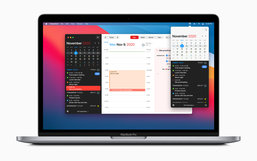 Fantastical calendar app displayed on MacBook Pro.