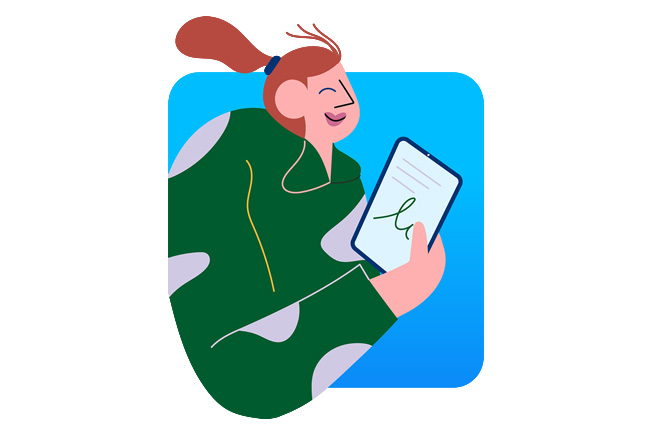 An illustration depicting a woman using iPad.