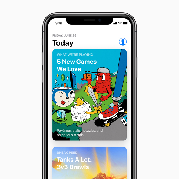 iPhone X with Today tab selected in the App Store.