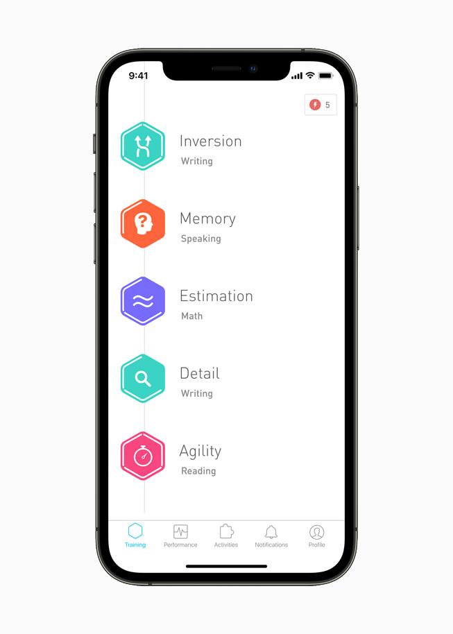 Elevate brain training app displayed on iPhone 12 Pro.