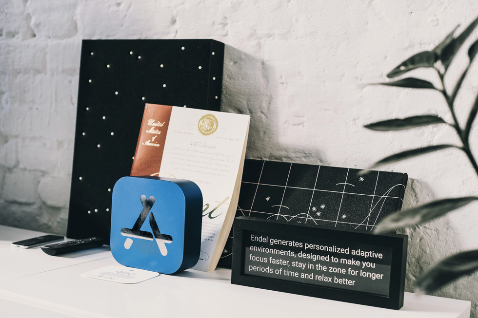 Endel's Apple Watch App of the Year award and other decor adorn at Endel Studio.
