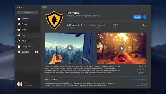 Screenshot of the Firewatch app on the new Mac Store