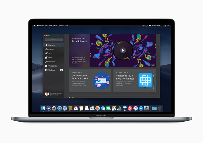 The new Mac App Store shown on a Mac screen
