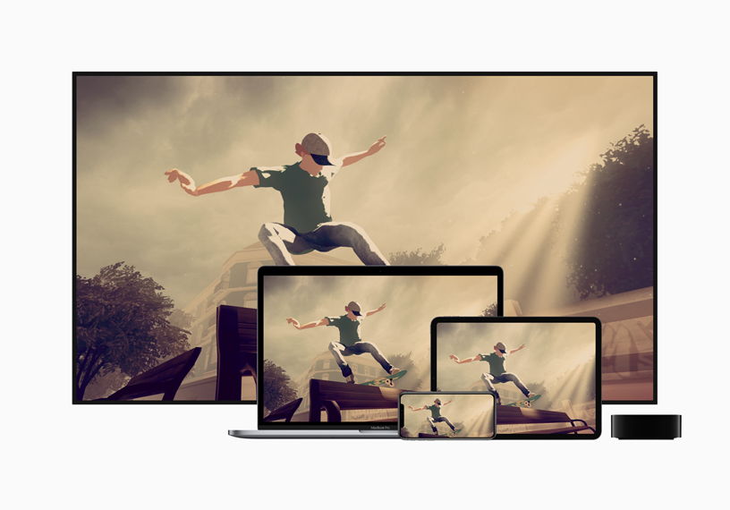 Apple TVの横にあるTV、Mac、iPad、iPhoneで「Skate City」を表示。