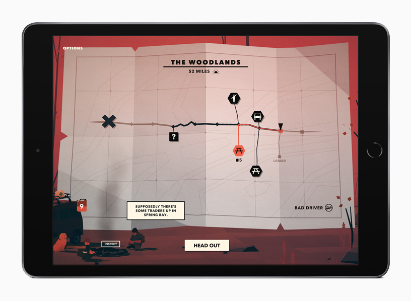 "Gameplay from ""Overland"" displayed on iPad."