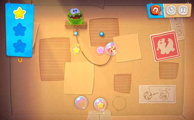 "Un'immagine del gioco ""Cut the Rope Remastered."""