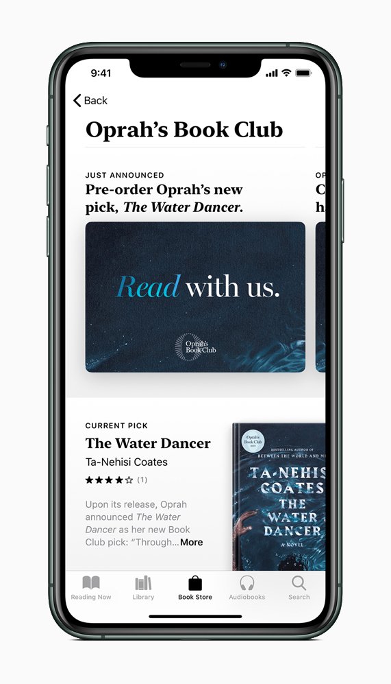 Oprah's Book Club screen in Apple Books on iPhone 11 Pro.