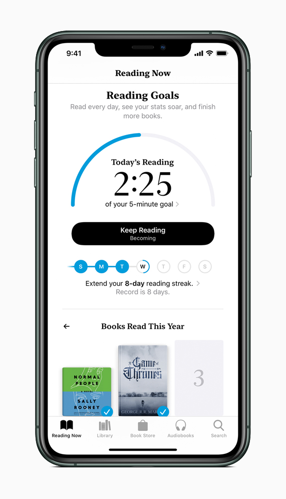 The new Reading Goals tab on Apple Books, displayed on iPhone 11 Pro.