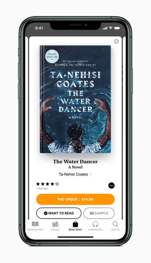 The Water Dancer Apple Books pre-order screen in Apple Books on iPhone 11 Pro.