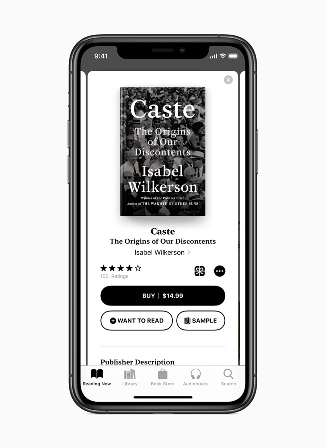 The Reading Now page on the Apple Books app.
