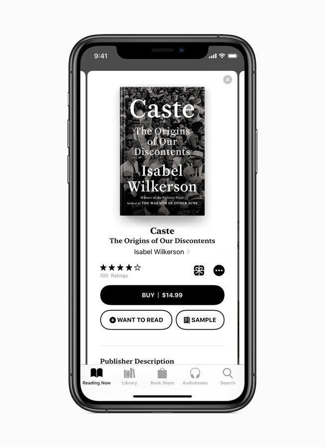 Pagina Letture dell'app Apple Books.
